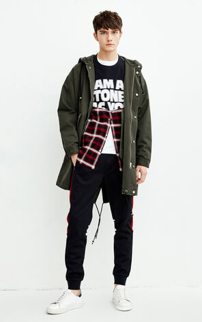 MLMR Men's Autumn Letter Print Hooded Jacket |218309504