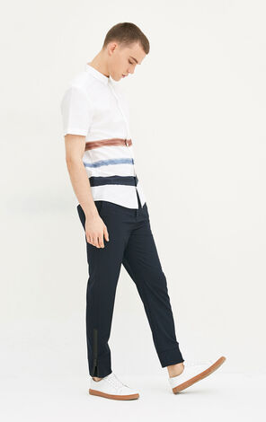 JackJones Men's Spring & Summer 100% Cotton Striped Turn-down Collar Short-sleeved Shirt E|217204502