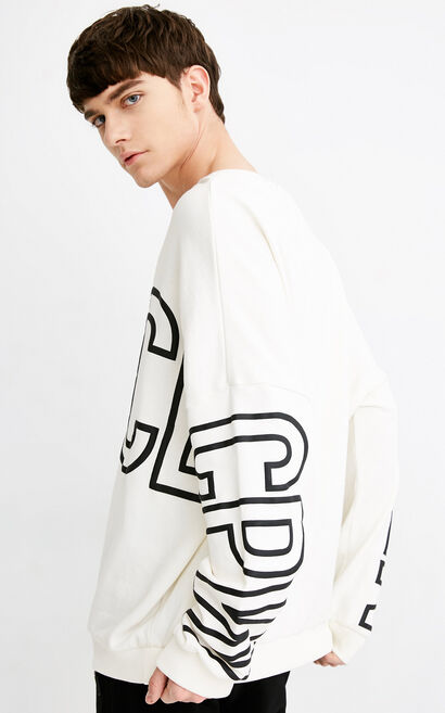 Jack Jones Men's 100% Cotton Letter Print Loose Fit Pullover Sweatshirt C|218133516, White, large