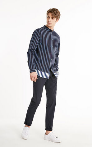 JackJones Men's Oversized Striped Stand-up Collar Shirt E|219105518