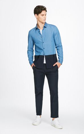 JackJones Men's Autumn 100% Cotton Spliced Colored Blocks Square-cut Collar Long-sleeved Shirt E|217305534