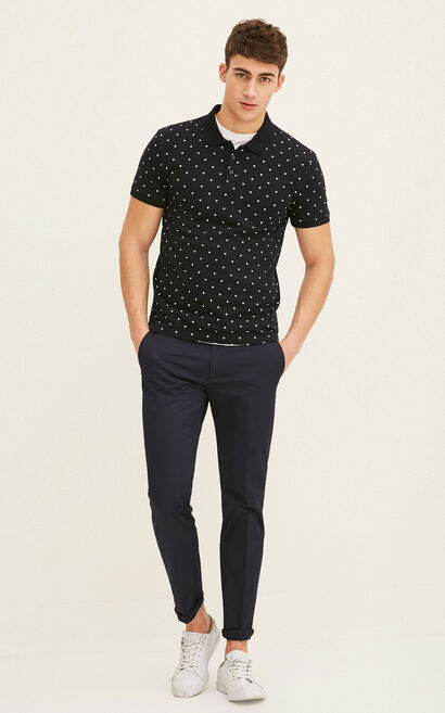 JackJones Men's Spring 100% Cotton Slim Fit Geometrical Print Short-sleeved T-shirt|217106502, Blue, large