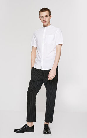 JackJones Men's Spring Two-color Striped Stand-up Collar Slim Fit Short-sleeved Shirt E|219204508